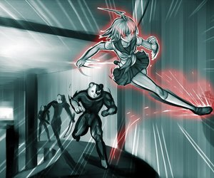 Action, anime girl, and fight image