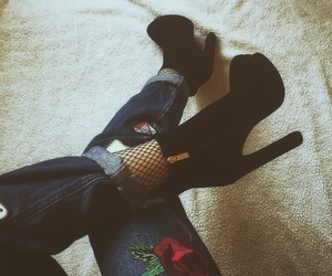 fishnet, heels, and jeans image