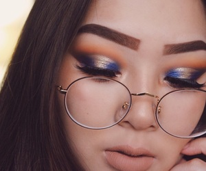 blue, makeup, and glasses image
