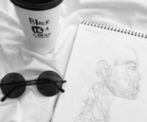 aesthetic, sketch, and sunglasses image