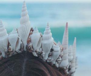 mermaid, crown, and ocean image
