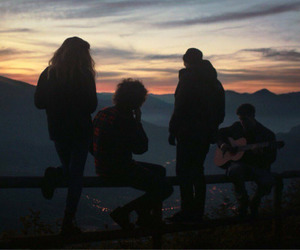 friends, sunset, and guitar image
