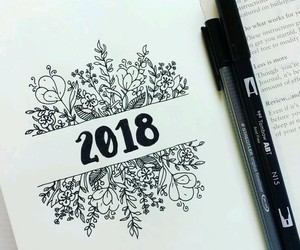 journaling, lettering, and 2018 image