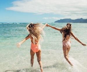 best friends, sea, and girl image