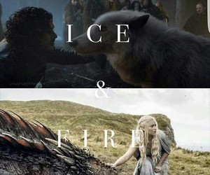 dragon, jon snow, and fire image