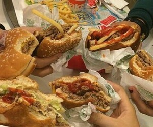 food, fast food, and hamburguer image