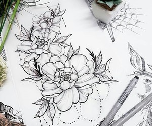 flowers, green, and ink image
