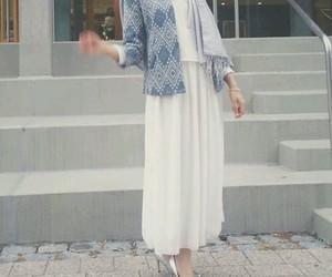blue, hijab, and skirt image