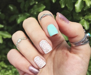 girly, glitter, and long nails image