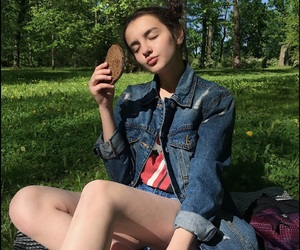 blue, food, and girl image