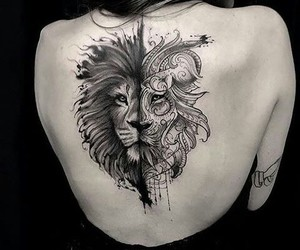 art, black and white, and lion image