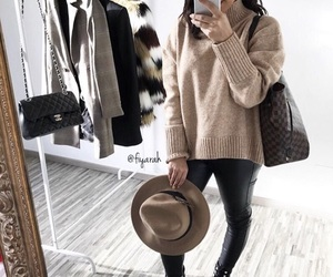 fashion style, brown beige, and louis vuitton lv image