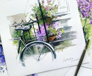 art, bike, and flowers image