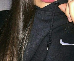 nike, lips, and black image