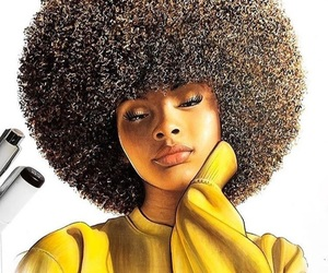 Afro, drawing, and illustration image