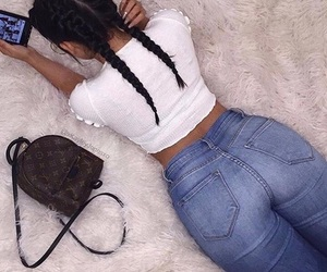hair, jeans, and french braids image