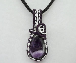 handcrafted jewelry, wire wrapped, and white pendant image