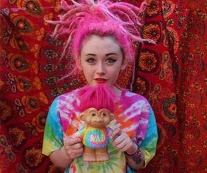 dreadlocks, pink hair, and tie dye image
