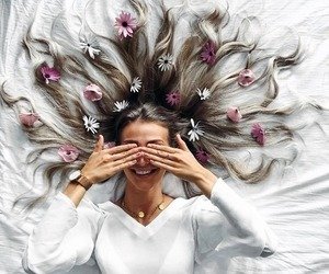 flowers, hair, and photography image