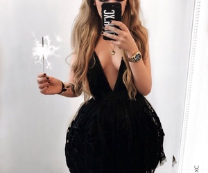 black, blond, and dress image