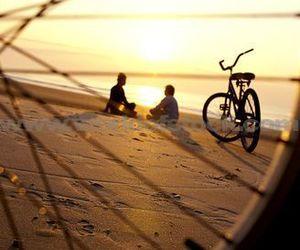 bike, sea, and yellow image