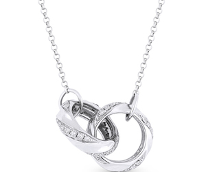 chain necklace, 14k white gold, and diamond image
