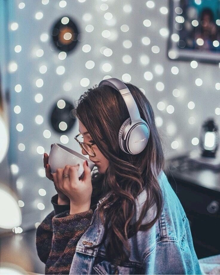 light, girl, and music image