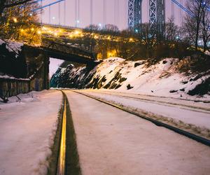 night, winter, and railroad tracks image