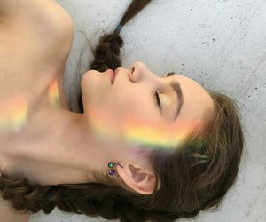 girl, pretty, and rainbow image