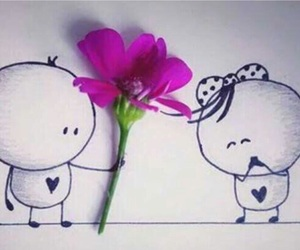 couple, drawing, and flower image