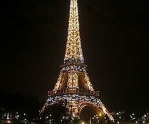 architecture, tower eiffel, and lights image