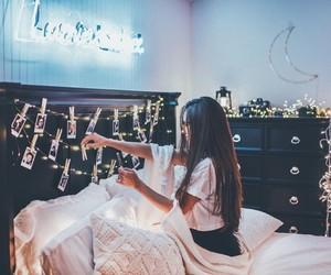 lights, girl, and photography image