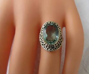 etsy, gemstone ring, and aquamarine ring image