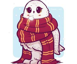 gryffindor, harry potter, and hedwig image