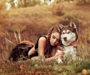 dog, fashion, and girl and husky image