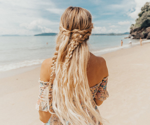 beach, blonde, and sea image