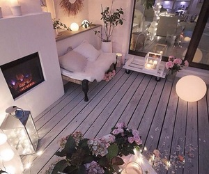 fairy lights, grey, and pillows image