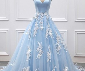 dress, blue, and long image