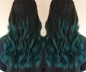 beautiful, blue, and dark hair image