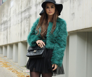 coat, fur, and tights image