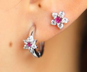 dainty, pink, and piercing image