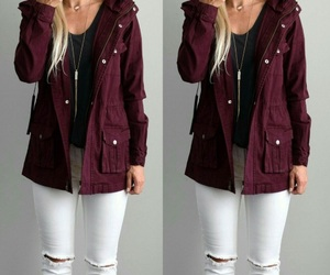 burgundy, jacket, and white jeans image