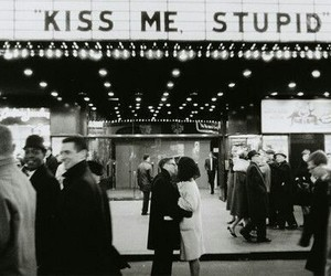 black and white, couple, and kiss image