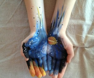 art, hands, and galaxy image