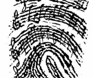 music, black and white, and finger image