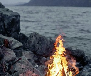 fire, sea, and nature image