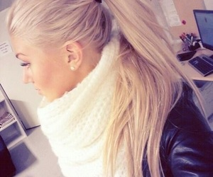 blonde hair, ponytail, and fashion image