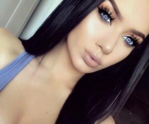 black hair and blue eyes image