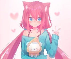 anime girl, pink, and cute image