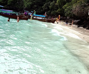 beach, boats, and phiphi image